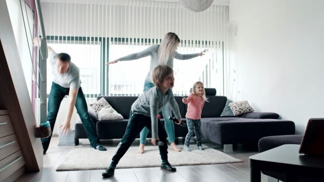 Family workout in living room video