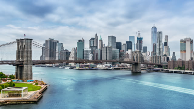 Famous aerial view to New York city, Brooklyn bridge, downtown video