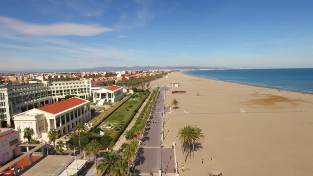 AERIAL Famous beach Playa De La Malvarrosa in Valencia