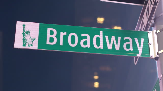 CLOSE UP: Famous Broadway street sign in iconic Times Square video