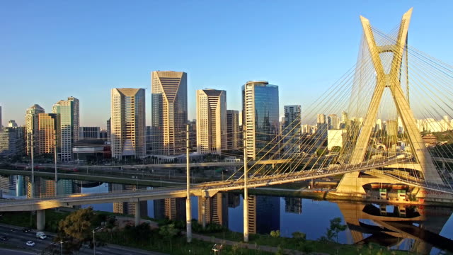 famous cable stayed bridge at sao paulo city - são paulo video stock e b–roll