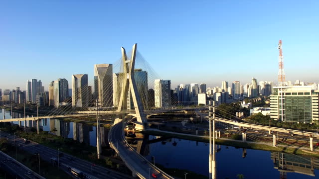 Famous cable-stayed bridge in Sao Paulo Video of the famous cable-stayed bridge located at Sao Paulo city, Brazil. This bridge is over Marginal Pinheiros, the most important expressway of the city. marginal pinheiros stock videos & royalty-free footage