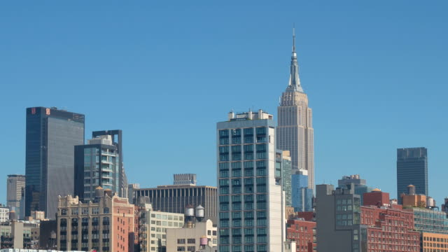 CLOSE UP: Famous corporate buildings in sunny Midtown Manhattan, New York City video