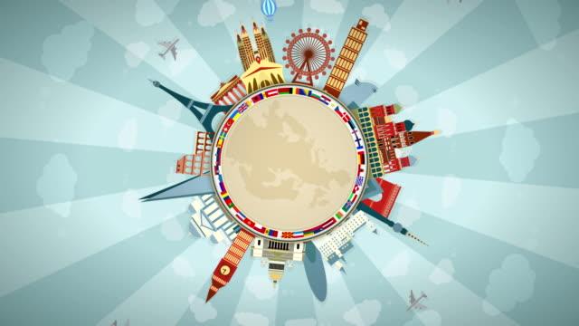 berühmte europäische sehenswürdigkeiten, darunter alle flaggen: seamless loop: #1 - englandreise stock-videos und b-roll-filmmaterial