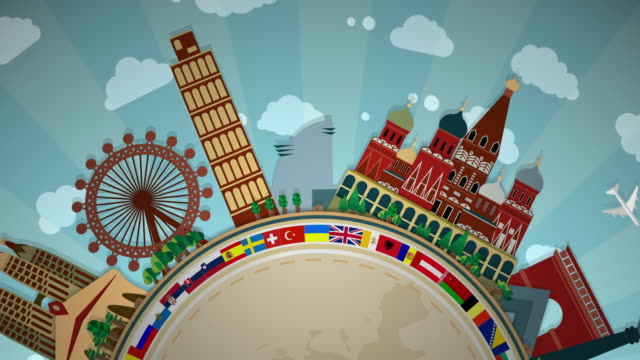 famous european landmarks, including all flags - semi-circle loop: #1 - england stock videos & royalty-free footage
