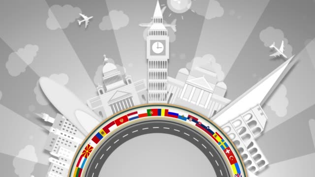 Famous European Landmarks, White Paper Cut-Outs. Semi-Circle Looping.