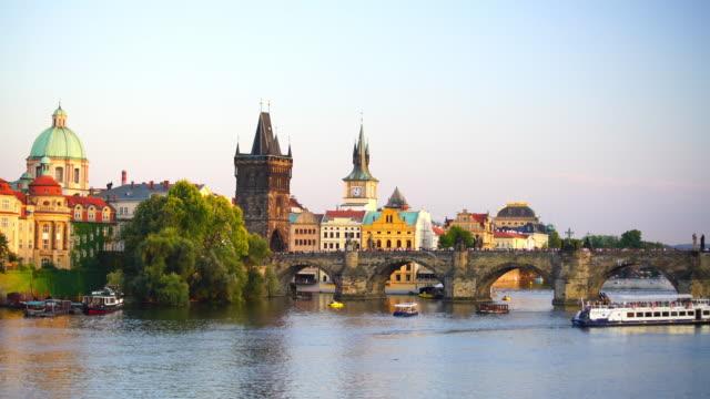 Famous iconic image of Charles bridge and Prague city skyline