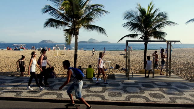 Famous Ipanema pedestrian walk from moving vehicle Famous Ipanema pedestrian walk,,,, brazil stock videos & royalty-free footage