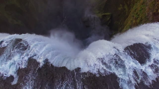 AERIAL Famous landmark Skogafoss waterfall video