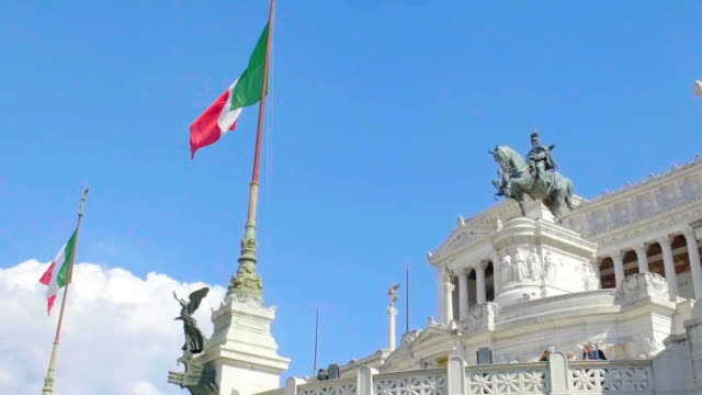 Famous monument to king Victor Emmanuel in Rome, Italian place of interest video