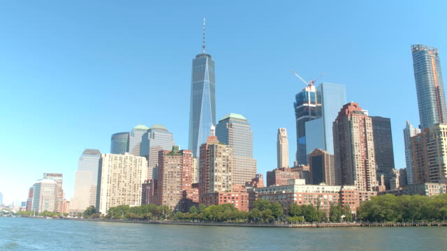 HYPERLAPSE: Famous NYC landmarks in Downtown Manhattan from a viewpoint on water video