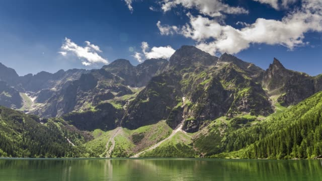 famous polish lake in the tatras mountains in summer, poland - polonia video stock e b–roll