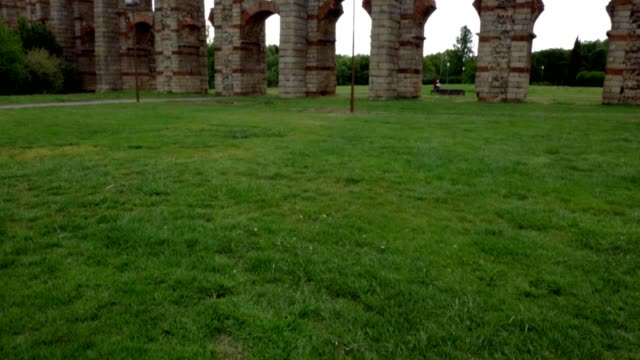 Famous roman aqueduct of los Milagros in Merida, Spain
