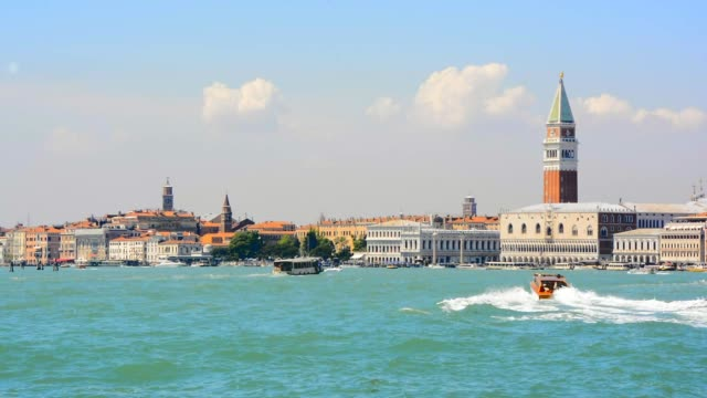 Famous San Marco tower and Doge's palace waterfront in Venice, Italy, video