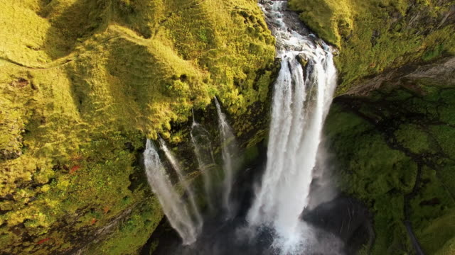 AERIAL Famous Seljalandsfoss waterfall video