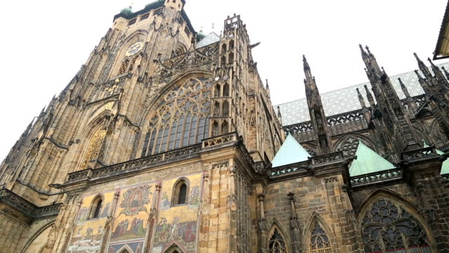 famous st vitus cathedral in prague - cathedrals stock videos & royalty-free footage