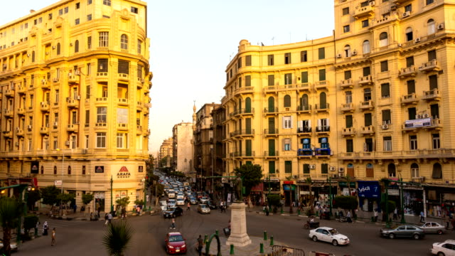 Famous Talaat Harb Square in downtown Cairo, Egypt Famous Talaat Harb Square in downtown Cairo, Egypt egypt stock videos & royalty-free footage