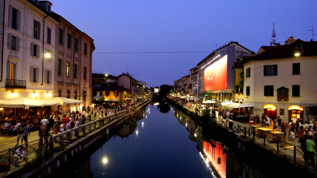 Famous tourist attraction, Naviglo Grande canal in  Milan city, Italy Famous tourist attraction, Naviglo Grande canal in  Milan city, Italy at night lombardy stock videos & royalty-free footage