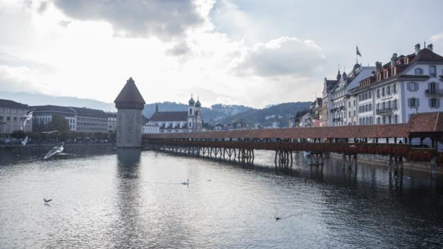 Famous wooden Chapel Bridge in Lucerne video