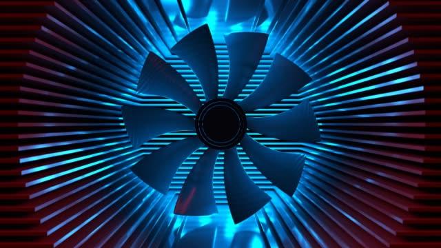 A fan among the radiator plates.
