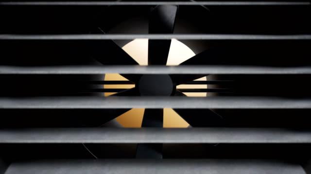 fläkt av industriella luftventilationssystem slutar snurra. bristande värme eller kylsystem. 60 fps animation. - ventilation bildbanksvideor och videomaterial från bakom kulisserna