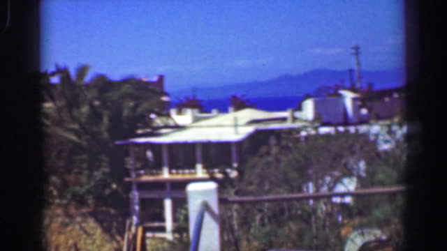1952: fancy wealthy tropical cliff ocean view villa mansion home. - guerrero video stock e b–roll