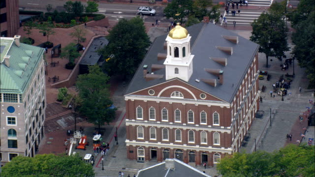 Faneuil Hall Marketplace  - Aerial View - Massachusetts,  Suffolk County,  United States video