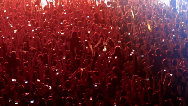fans jump to the beat of music at a rock concert.
