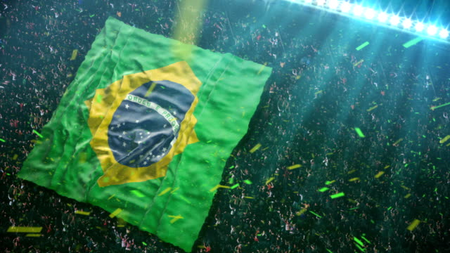 Fans unfurl majestic Flag of Brazil at the stadium video