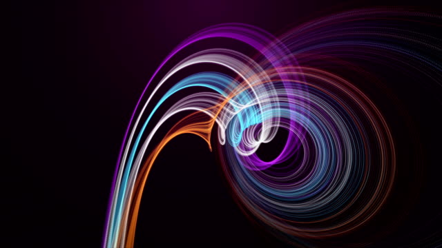 Fantastic animation with particle stripe object in slow motion, loop HD video