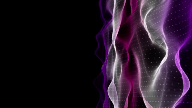 Fantastic animation with particle wave object in slow motion, loop HD 1080p video