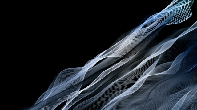 Fantastic animation with particle wave object in slow motion, loop HD video