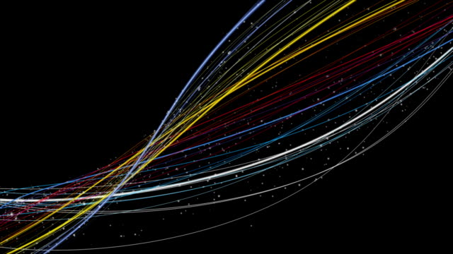 Fantastic animation with stripe object and particles in slow motion, loop HD 1080p video