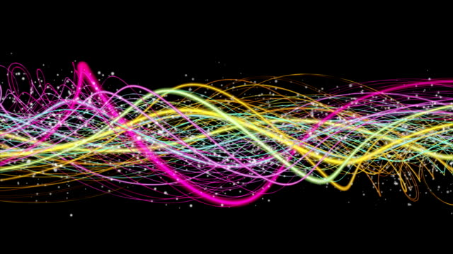 Fantastic animation with stripe object and particles in slow motion, loop HD 1080p