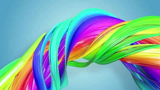 Fantastic beautiful ribbons of rainbow color twisted and bent, colorful creative background with soft smooth animation of lines and color gradients in 4k. beautiful rainbow color stripes are moving in a circle and twisting as abstract seamless background with multicolored ribbons. Luma matte is as alpha channel for easy compositing. 4k colorful loop animation. twisted stock videos & royalty-free footage