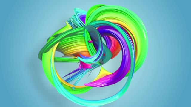 Fantastic beautiful ribbons of rainbow color twisted and bent, colorful creative background with soft smooth animation of lines and color gradients in 4k. video