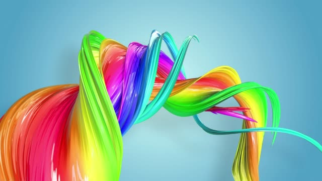 Fantastic beautiful ribbons of rainbow color twisted and bent, colorful creative background with soft smooth animation of lines and color gradients in 4k.