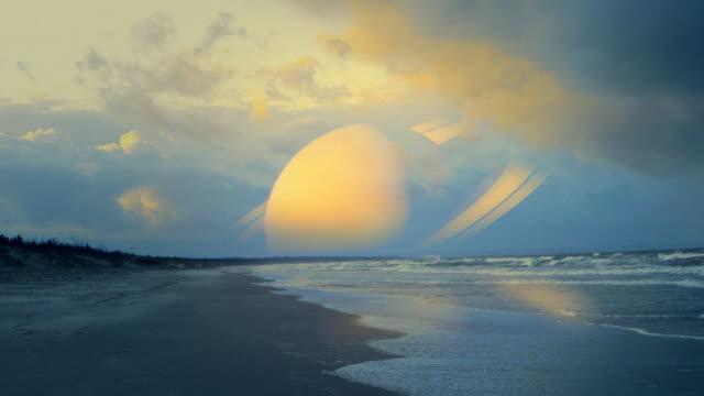 Fantastische Landschaft. Alien Welt. Sonnenuntergang mit saturn-Welt. HD – Video