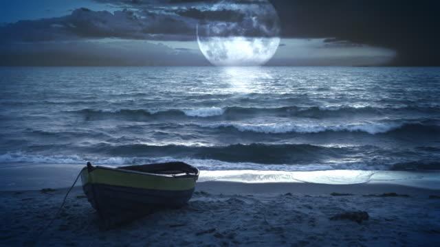 Fantastic landscape video background. Moonlight at the sea / ocean