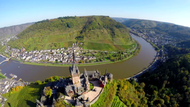Fantastic old castle with vine hills river bridge aerial village. Beautiful aerial shot above Europe, culture and landscapes, camera pan dolly in the air. Drone flying above European land. Traveling sightseeing, tourist views of Germany. video