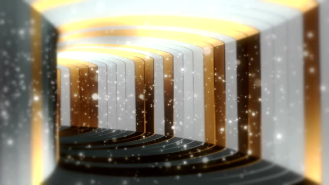 Fantastic Pure Gold and White Tunnel With Particles Seamless Looping Background