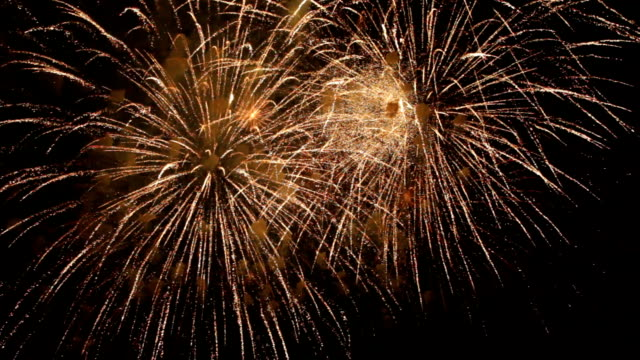 Fantastic Spectacular Fireworks On Black Background in Slow motion video