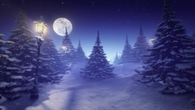 Fantastic winter landscape blue tinted video