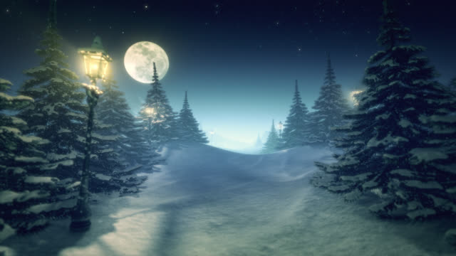 Fantastic winter landscape turquoise green tinted center space for content video