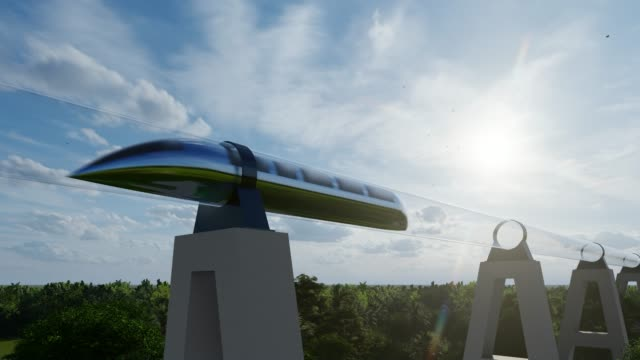 Fantastic with maglev hyperloop for concept design. Futuristic monorail transport. Isometric hyperloop transport concept. Energy station. 4k