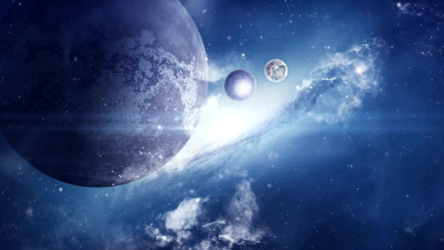 fantasy sci-fi space with planets and nebula - alieno video stock e b–roll