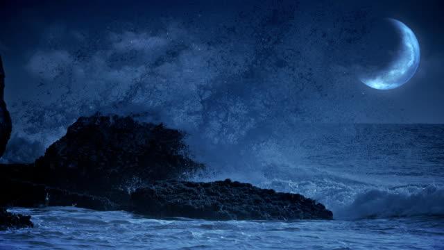 Fantasy sea view with waves crashing at rocks. video