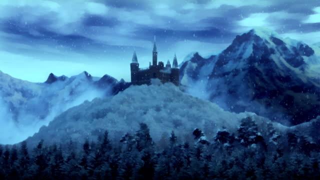vídeos de stock, filmes e b-roll de castelo de inverno de fantasia. - castelo