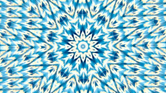 stockvideo's en b-roll-footage met fantasy winter kaleidoscopic pattern in blue colors. - mandala