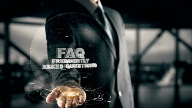 FAQ-Frequently Asked Questions with hologram businessman concept video